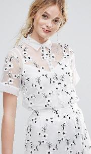 embroidered shirt with cami underlay