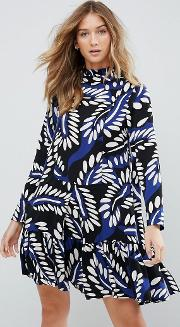 High Neck Graphic Print Shift Dress