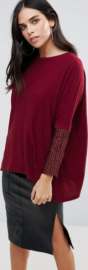light knit jumper with contrast sleeves