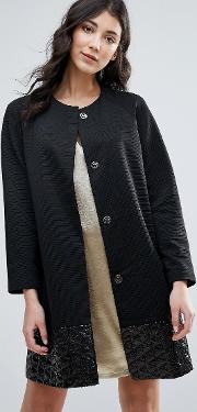 Straight Coat With Jacquard Hem