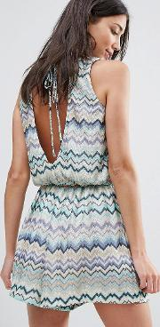 swirl print dress with tie back