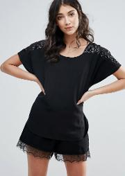 Top With Embellished Sleeves