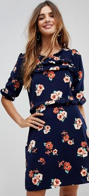 frill front floral shift dress