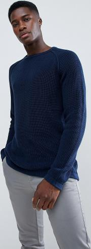 mixed yarn textured knitted jumper