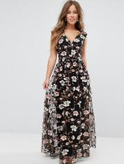 All Over Embroidered  Neck Maxi Dress