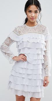 All Over Ruffle And Lace Mini Dress