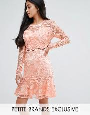 allover premium lace skater dress with fluted hem
