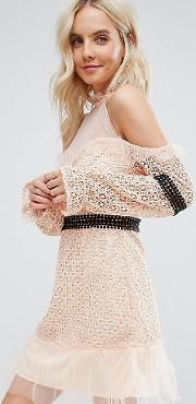 Cold Shoulder All Over Lace Mini Dress With Contrast Waistband Mesh Hem