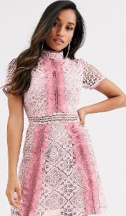 Ruffle Front Mini Dress With Contrast Lace