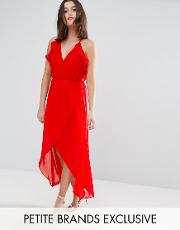 td by frill detail high low midi dress with strappy back