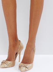 rose gold glitter bow detail court shoes