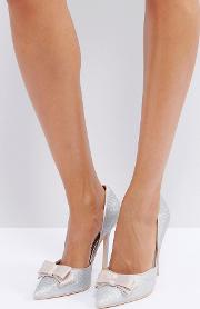 silver glitter bow detail court shoes