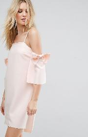 Cold Shoulder Mini Dress With Bow Sleeve Detail