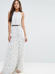 Over Floral Maxi Dress With Metal Belt Detail In Ditsy  Print