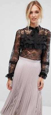 Over Lace Blouse With Ruffle Detail