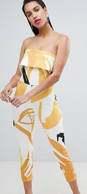 Bandeau Jumpsuit With Tapered Leg