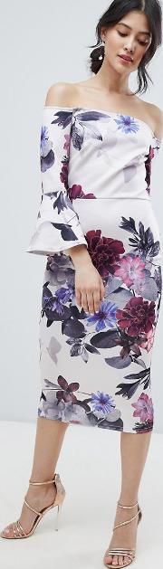 bardot midi dress with frill sleeve in foral print
