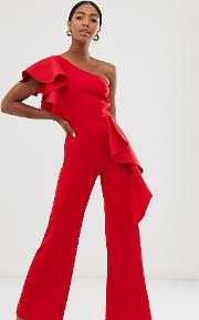 Exclusive One Shoulder Peplum Frill Jumpsuit