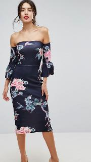 Flare Sleeve Bodycon Dress In Floral Print