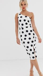 Polka Dot One Shoulder Midi Dress