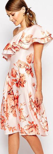 Sateen Prom Dress With Ruffle Shoulder