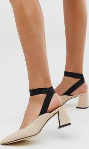 Curved Heel Pointed Shoes Beige
