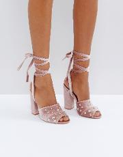 pearl stud heeled sandals