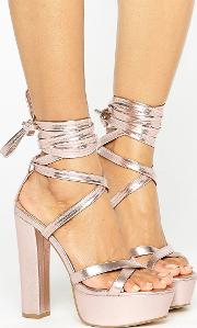 Tie Ankle Platform Heeled Sandals