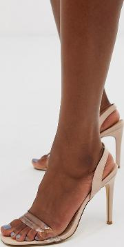 Wide Fit Clear Strap Barely There Square Toe Heeled Sandals