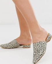 Wide Fit Flat Pointed Mules Leopard