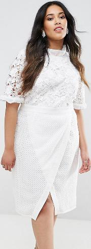 Lace Bodice Pencil Dress With Ruffle Neck And Wrap Skirt