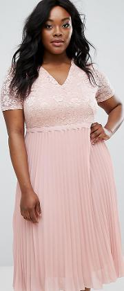 Lace Bodice Skater Dress With Pleated Skirt