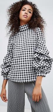 Gingham High Neck Blouse With Frill Detail