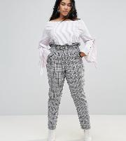 high waist paper bag trousers in check