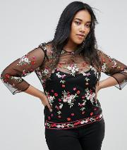 Sheer Blouse With Floral Embroidery