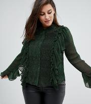 Unique 21 Hero Blouse With Ruffle Detail In Glitter Rib