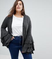 unique 21 hero cardigan with extreme frill sleeve