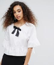 Mono Peplum Blouse With Contrast Bow