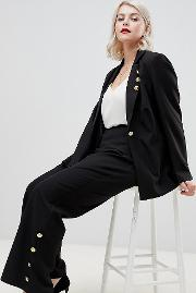 Wide Leg Trouser With Button Detail