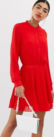 Unqiue21 Long Sleeve Collarless Pleated Dress