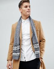 Cashmere Mix Scarf With Jacquard Detailing