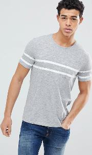 crew neck t shirt with double chest stripe