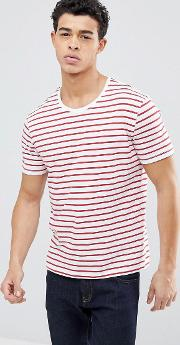 crew neck t shirt with red stripe