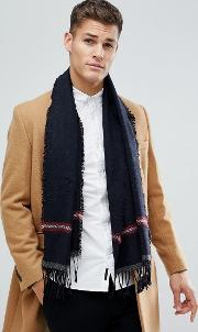 wool mix scarf with stripe detail