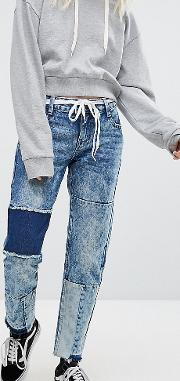 Straight Leg Jeans With Shadow Patching And Raw Hem