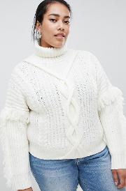 Cable Knit Roll Neck With Tassle Detail