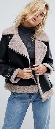 Bonded Aviator Coat With Trim Detail