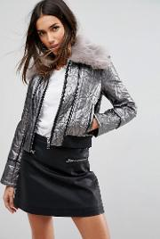 Quilted Bomber Jacket With Faux Fur Trim