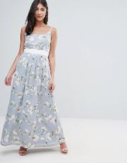 Maxi Dress In Floral Print With Contrast Band