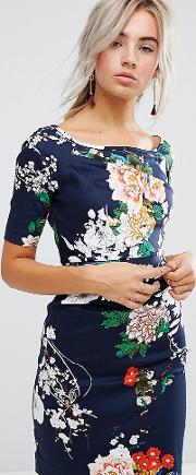 Floral Print Dress With Gathered Front